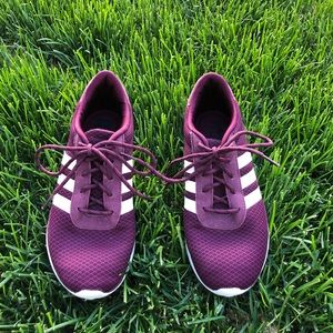 Maroon adidas sneakers